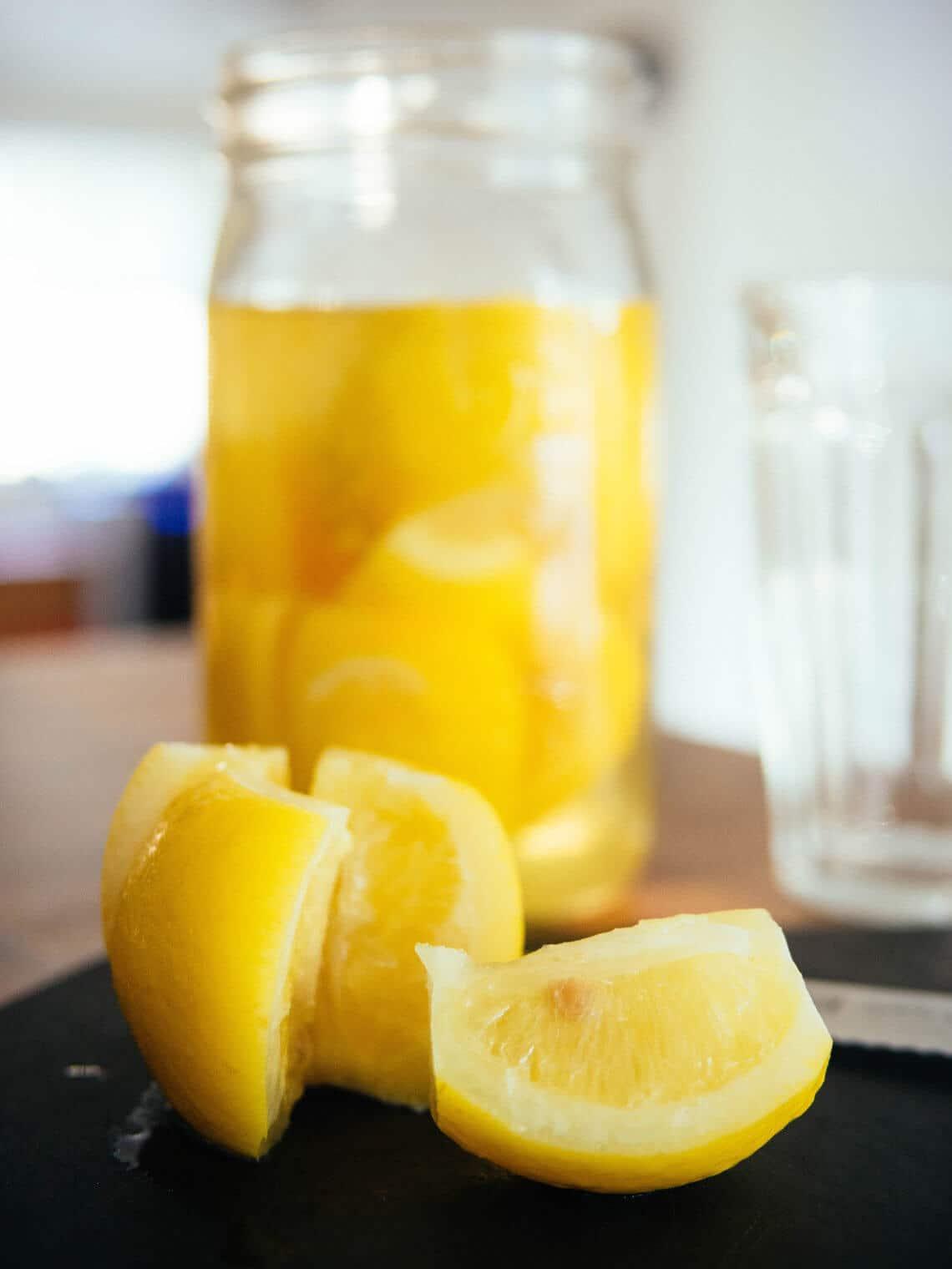 Vietnamese preserved lemons (chanh muoi) and salty lemonade