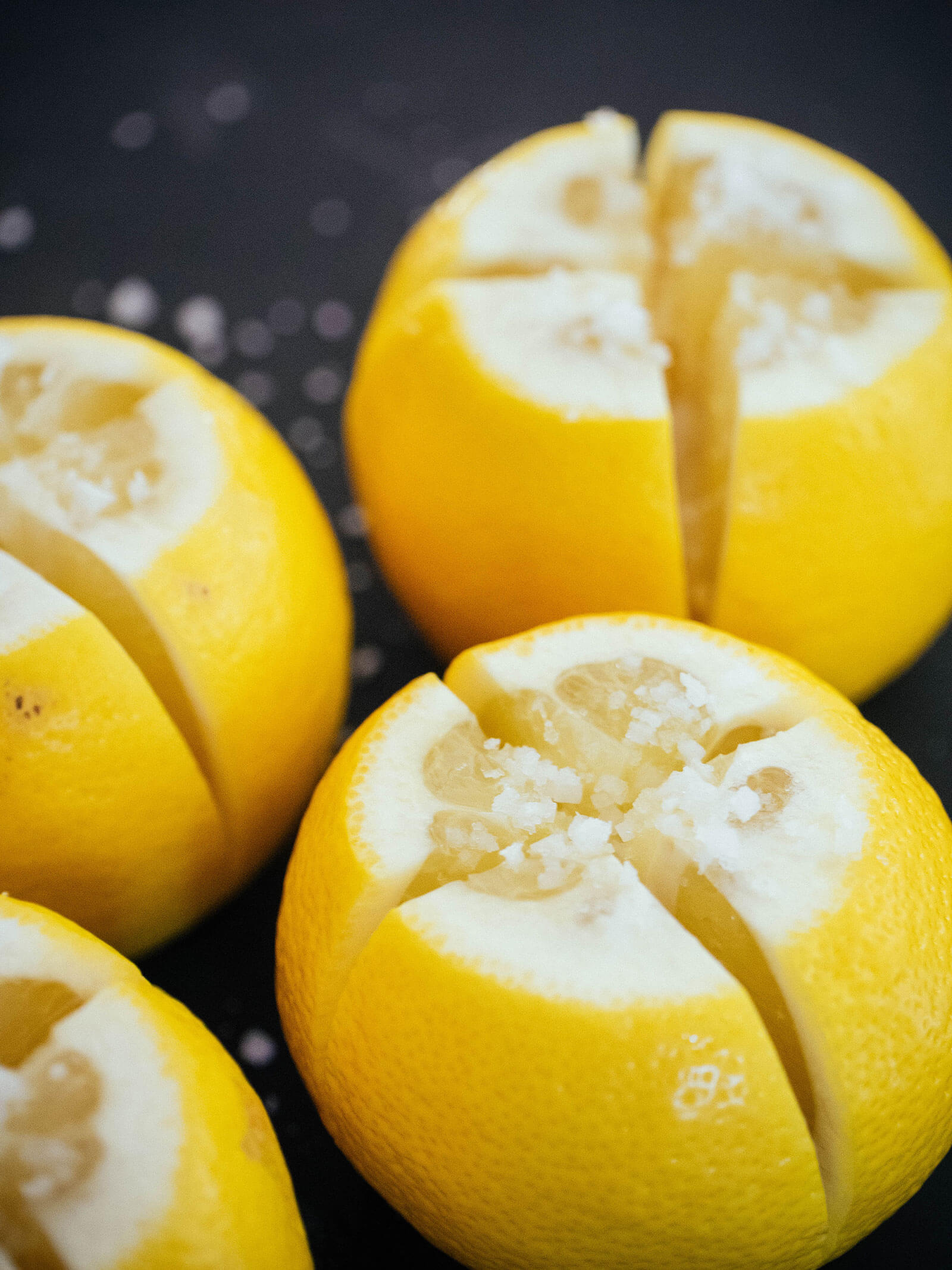 Whole lemons quartered and salted