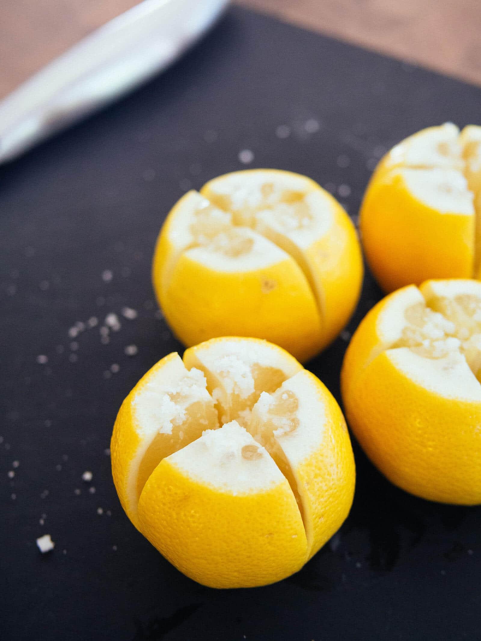 Lemons salted on the inside