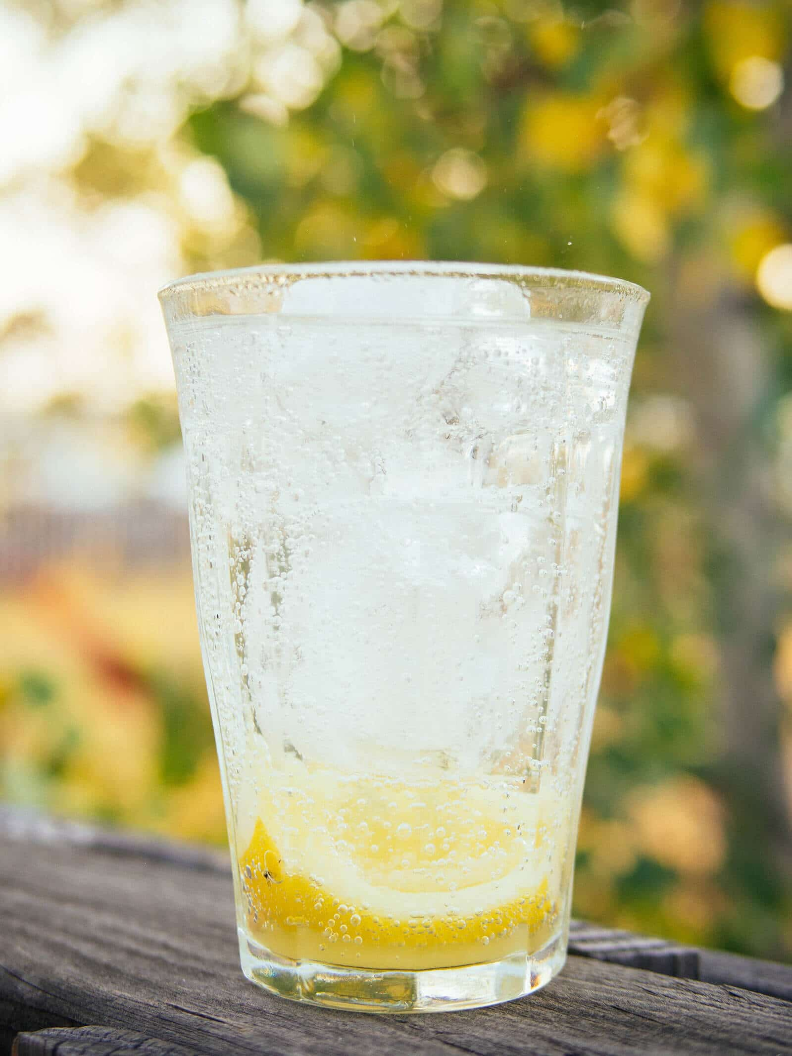 Icy cold glass of chanh muoi (Vietnamese salty lemonade) with fizzy soda