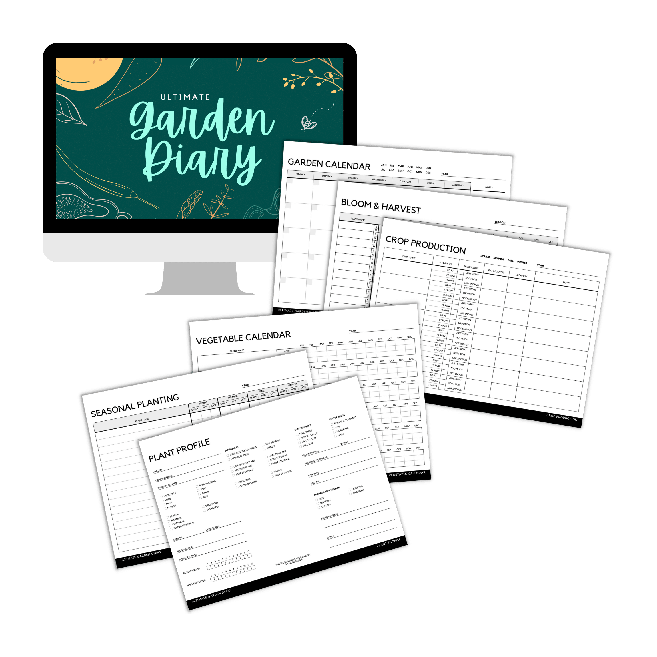 Preview of Ultimate Garden Diary PDF pages