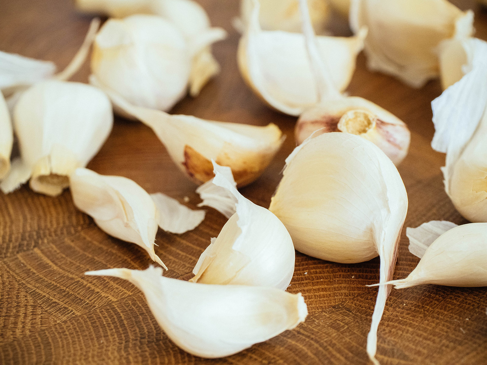Garlic cloves separated from a bulb